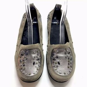 TAOS Slip On Shoes Flats Clogs Suede Embellished
